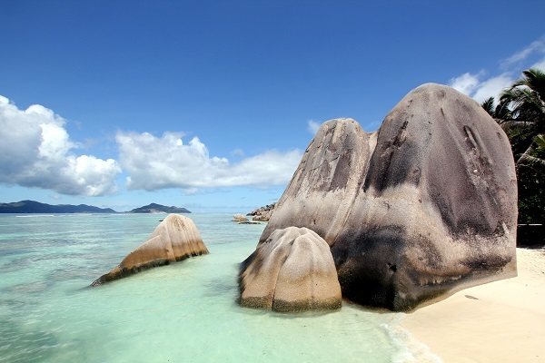 Rocks on La Digue beach in Seychelles